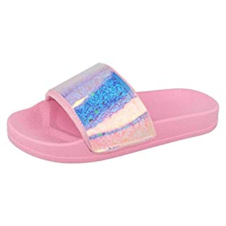 Lora Dora Girls Iridescent Sliders Pink UK 10