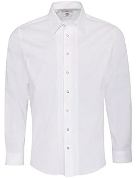 Almsach Trachtenhemd Harro Regular Fit mit Biesen in Weiß Inklusive Volksfestfinder