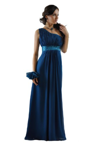 SEXYHER Damen One Shoulder Langes Abend- und Brautjungfern Kleid, Petrol - UK 12 - DE 38