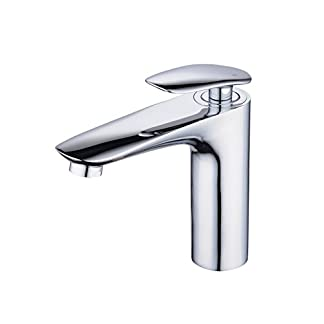 Grifo de baño con un solo mango y un solo grifo de lavatorio, latón macizo, cromo, Beelee BL6771