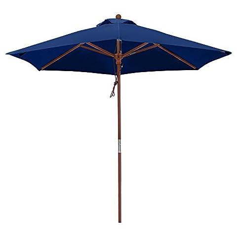 anndora Sonnenschirm 2,5 m Balkonschirm rund wasserabweisend Winddach Navy Blau