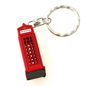 London Telefon Box Keyring Rot - London Souvenir / Geschenk Die Cast Metal Schlüsselanhänger - 3D Rote Telefonzelle Box - Rot London Telefon Box Keychain - Telefonzelle Telefon