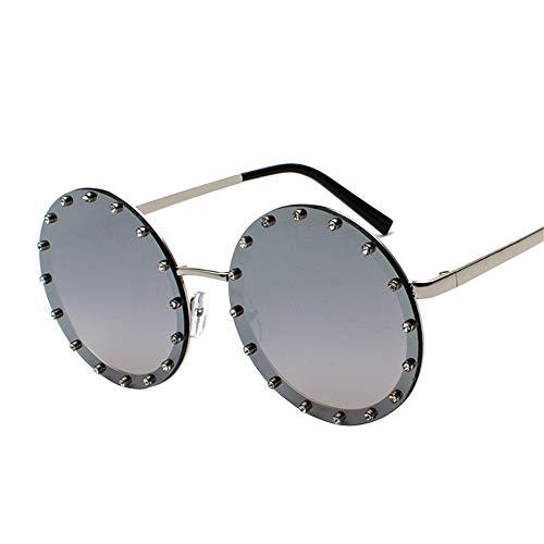 SUMHOME Polarisierte trend sonnenbrille runde linse diamant frauen sonnenbrille persönlichkeit flut marke europa und amerika street shoot sonnenbrille, silber rahmen grau