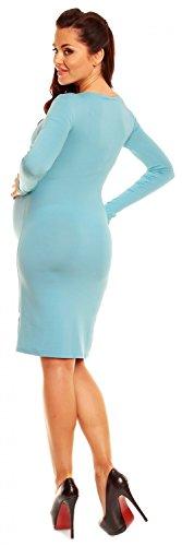 Zeta Ville Damen Umstands-Kleid Umstandsmoden-Shirtkleid Lange Ärmel 285c Hellblau