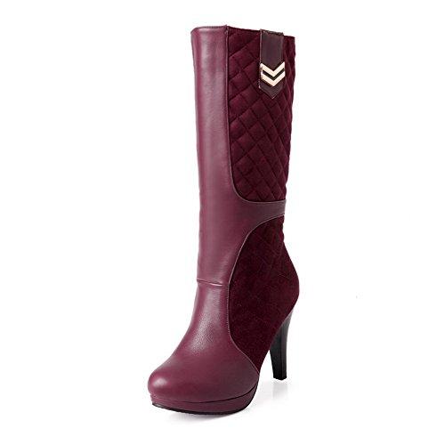 AllhqFashion Damen Hoher Absatz Eingelegt Rund Zehe Ziehen auf Stiefel mit Metallisch, Schwarz, 38