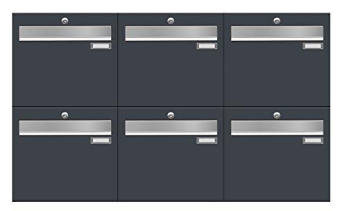 Briefkastenanlage LUIS von Frabox in RAL 7016 anthrazitgrau, mit 6 Briefkästen