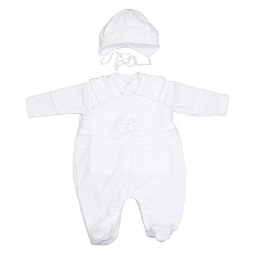 TupTam Unisex Baby Taufanzug Nicki 3-tlg. Set, Farbe: Weiß, Größe: 56