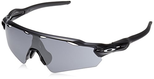 Oakley Men's Radar Ev Path (a) Non-Polarized Iridium Rectangular Sunglasses, Polished Black, 35.02 mm
