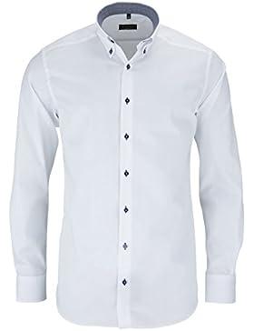 ETERNA Herren Langarm Hemd Modern Fit Button-Down-Kragen weiß mit Patch 8102.00.X14E