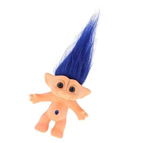 Jjek Miniatur Magie Elf Kunststoff Troll Puppe Indien hässliches Kind Retro Nostalgic Toy Blue Hair