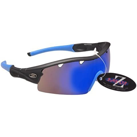 Rayzor Liteweight UV400 Black Sports Wrap Cycling Sunglasses, 1 Pce Vented Blue AntiGlare Lens