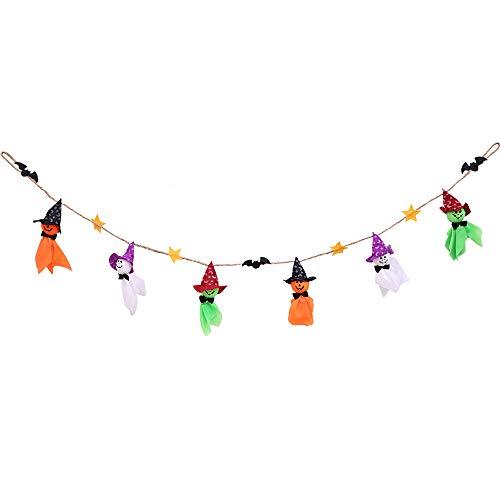 Jaysis Halloween Requisite Girlande Kürbisflagge zum Aufhängen Geisterdeko Handgriff Banner Party Deko Flagge Einheitsgröße MR