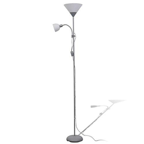 vidaXL Lámpara de Pie Acero Pintura Gris 2 Luces Interruptores Luz Suelo...