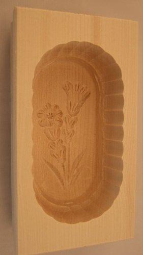 Hofmeister Holzwaren Eckige Butterform 14x7,6x4,3 cm für 125 g mit Motiv (Enzian)