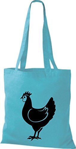 shirtstown Borsa di stoffa animale POLLO, pollo Sky