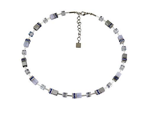 Coeur De Lion Kette, Glas Swarovski Kristalle Strass 4017/10-0720 Blau Silber, Länge verstellbar ca. 40 bis ca. 44 cm
