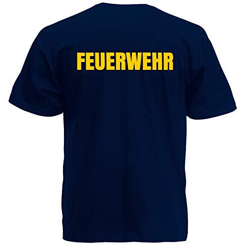 Shirt-Panda Herren Feuerwehr T-Shirt - Druck Brust & Rücken Dunkelblau (Druck Gelb) M