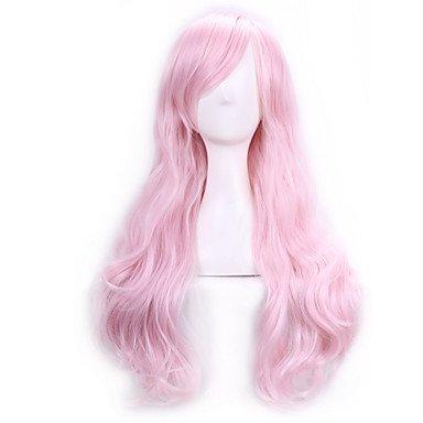 HJL-70 Cm Anime Cosplay perruques pour dames femmes Costume Party Long complet ondul¨¦ cheveux synth¨¦tique boucl¨¦s perruque de rose