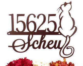 Rea66de Holzschild für den Außenbereich, Katzenhaus, Familienname, Kupfer, 14 x 11.25, personalisierbar, Familienname und Außenschild