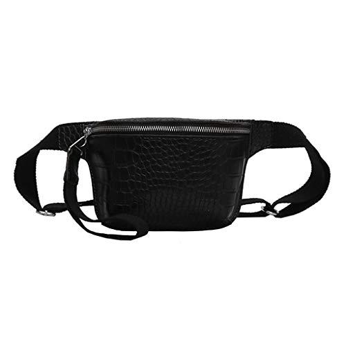 Katsaz Damen Einfarbig Krokodil Leder Brusttasche Umhängetasche Mehrfarbig Einstellbar Gürtel Schultertasche (Black) -