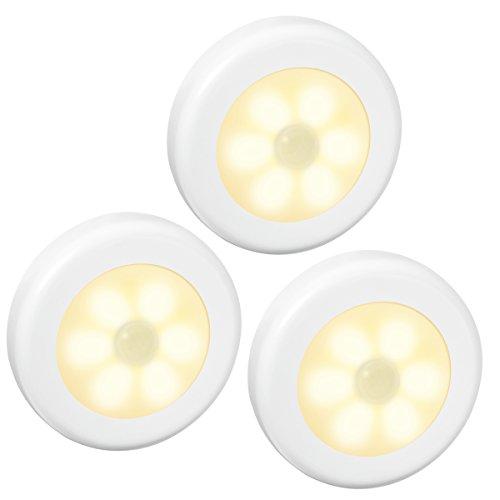 AMIR Nachtlicht mit Bewegungsmelder, 6 LED Bewegungsmelder Licht, Auto EIN/AUS Led beleuchtung sensor, Batteriebetrieben Schranklicht , Schrankleuchten für Flur, Schlafzimmer, Küche (3 Stück-Warmes Weiß)