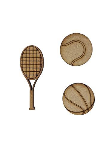 16x Tennis Ball Basketball Schläger Holz Craft Verzierungen Laser Schnitt Form MDF -