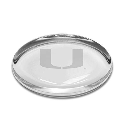 University Glass NCAA Miami Hurricanes Oval Paperweight, Clear, One Size