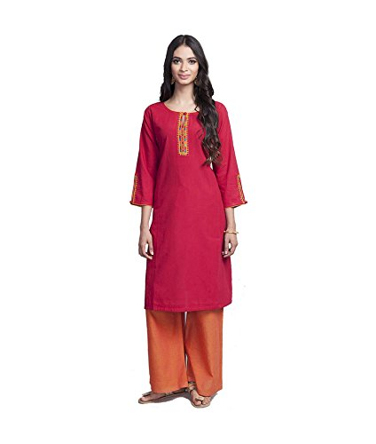 Amayra Women's Cotton Straight Embroidered Kurti (XX-Large,Red)
