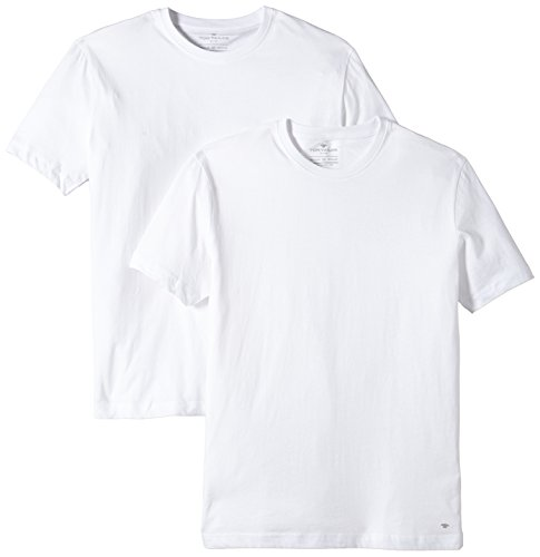 TOM TAILOR Herren T-Shirt 2er pack crew-neck, Gr. Large, Weiß (white 2000) (Crew Weiß T-shirt)