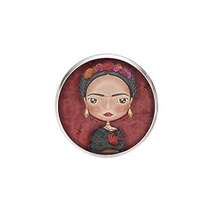 Edelstahl Brosche, Durchmesser 25mm, Stift 0,7mm, handgemachte Illustration Frida Ilustrador