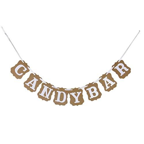 Hemore Candy Bar Bunting Flaggen-Fahnen-Zeichen für DIY Hochzeit Geburtstag Verlobungs Photo Booth Props Partei Rezeption Buffet Supplies Dekorationen Hohe Qualität, praktisch, die Sie verdient haben -