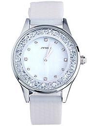 Relojes Hermosos, Mujer Reloj de Moda Cuarzo Resistente al Agua Silicona Banda Blanco Marca- SINOBI ( Color : Blanco , Género : Para Mujer )