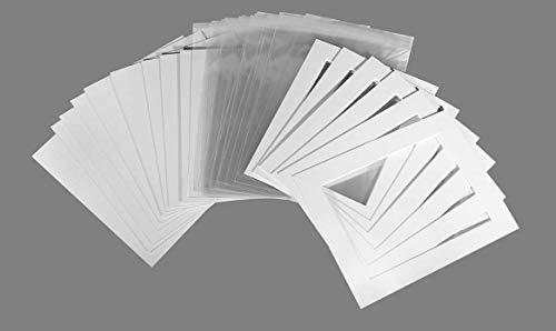 """20er-Pack–Foto-Passepartouts, Rückwände und Klarsichttaschen, weiß texturiert (grauweiß), gebrochenes weiß, 10""""x8"""" To Fit 6""""x8"""""""