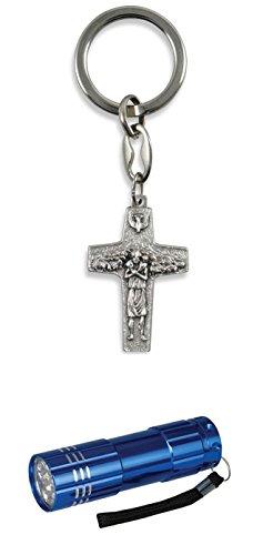 Zisaline-Kombi Schlüsselketten guter Hirte Papst Franziskus Kreuz 9 cm, Kreuz 4 x 2,7 cm (951988319241854) mit LED Alu Taschenlampe