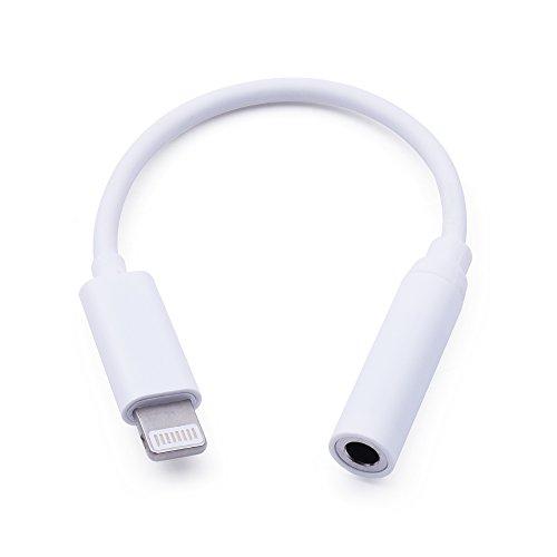 iprotect Apple iPhone 7 iPhone 7 Plus Lightning-AUX-Adapter für Kopfhöreranschluss Lightning zu Klinkenstecker Connector in weiss