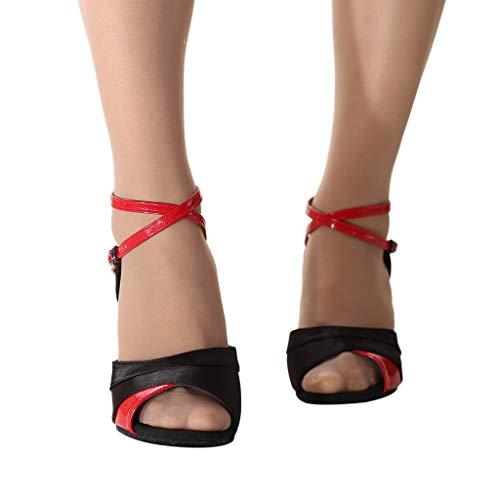 Deloito Mode Damen Fischmaul Stöckelschuhe Tanzen 8cm Hoher Absatz Sandalen Standard Rumba Walzer Ballsaal Latein Salsa Tango Tanzschuhe (Rot,36 EU)