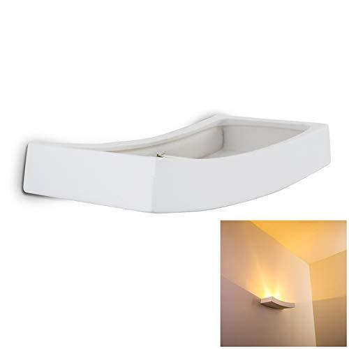 Wandlampe Bochum aus Keramik in Weiß, Wandleuchte mit schönem Lichtkegel, 1 x R7S-Fassung, max. 75 Watt, Innenwandleuchte mit handelsüblichen Farben bemalbar, geeignet für LED Leuchtmittel -