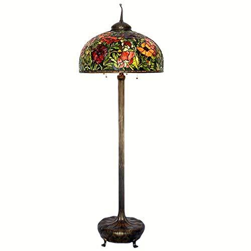 Tiffany Stehlampe Kupfer (26-Zoll-Tiffany-Stil Stehlampe (74 Zoll Hoch Glasmalerei Schatten Boden Standleuchten) 6 Licht Voll Kupfer Basis Für Schlafzimmer Wohnzimmer Lesen Beleuchtung Tisch Set (Zugkette) (Farbe : 110v))