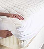 Poly Cotton Quilted Mattress Protector - With Fitted Polycotton Skirt To Fit Single Size Bed