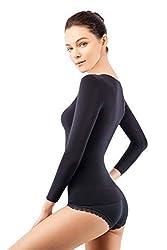 +MD Damen 3/4 Langarm Unterhe+MDen Compression Basic Shirts Shapewear Tops SchwarzS