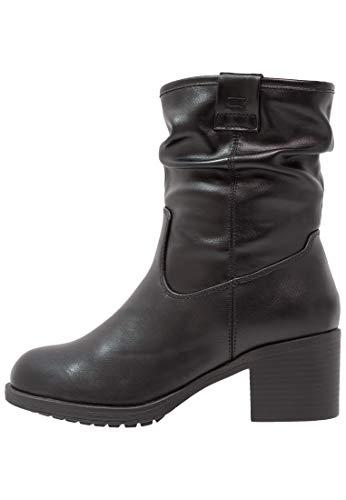 Anna field stivaletto da donna - stivale elegante con gambale morbido e zip laterale - stivali corti in similpelle, nero, 39
