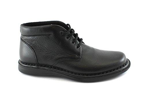 FRAU 38P2 Chaussures homme noir Bottes mi cuir lacets confortable