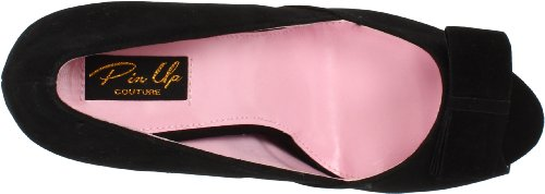 Pinup Couture Peeptoes Bella-10 Blk Sueded Pu