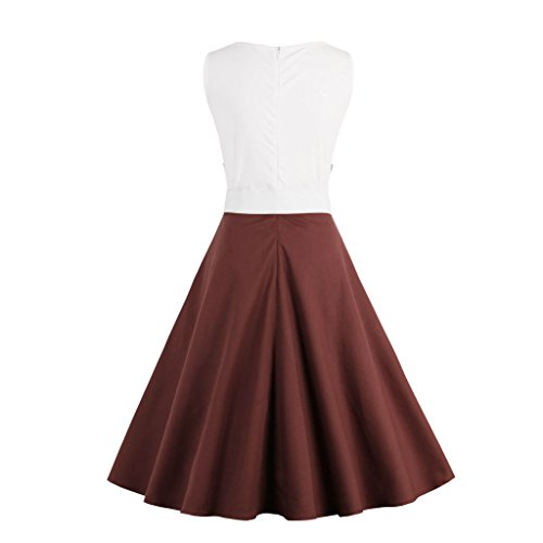 Valin M1372 Damen 50er Retro Cocktail Rockabilly Kleid Braun