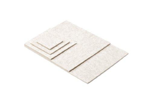 ESTA-Design Dessous de Verre Set de Table Soucoupe Ronde/Carré/Carré Couleur Blanc/chiné 100% Feutre en Laine Vierge mérinos 5 mm, Feutrine Laine mérinos, weiß Meliert, 10 x 10 cm