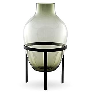 Nordstjerne - Adorn Ladina - Vase mit Metallständer - Grün Schwarz - (HxØ): 35 x 18 cm
