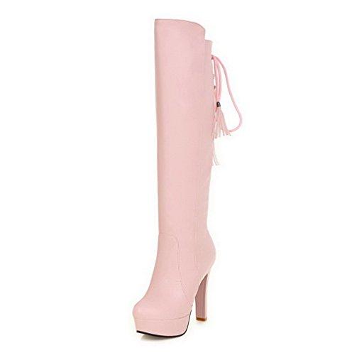 AgooLar Damen Ziehen auf Hoher Absatz PU Rein Hoch-Spitze Stiefel, Pink, 39