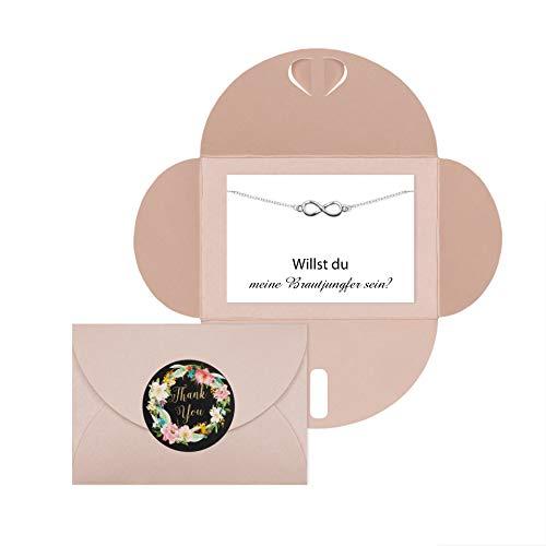 Lillyville - Brautjungfern Geschenk mit Infinity Armband Silber und Karte - Willst du Meine Brautjungfer Sein? - Hochzeit Einladung - Umschlag Rosa
