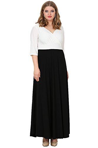 218aad69a7fb9 Angelino Butik Büyük Beden Siyah ve Beyaz Abiye Uzun Elbise KL8003U (60-62)