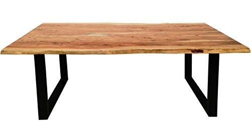 Massivholz Tisch (Esszimmertisch Salito 200x100 cm aus Akazie-Holz | Kufen-Gestell Schwarz lackiert | Baum-Tisch mit naturbelassener Optik)